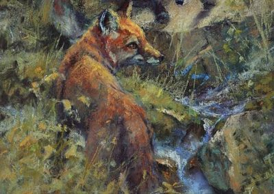 soft pastel painting of two young red foxes by Sharon Bamber