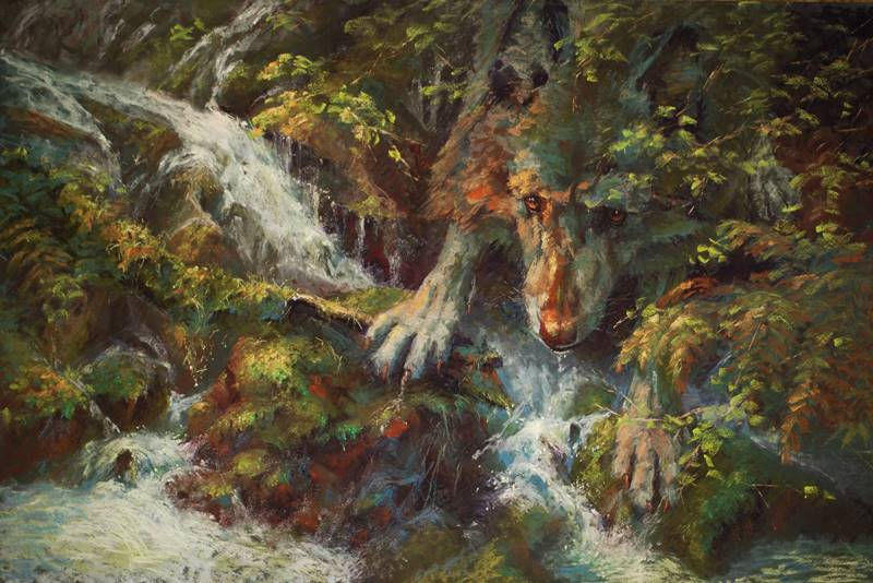 soft pastel painting of a wolf and stream by Sharon Bamber