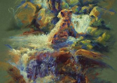 soft pastel painting of two young cinnamon bears in a stream by Sharon Bamber