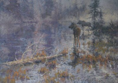 soft pastel painting of two moose by a misty lake by Sharon Bamber
