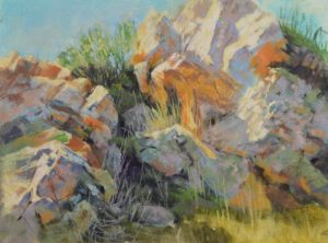 plein air soft pastel painting of sunlit boulders by Sharon Bamber