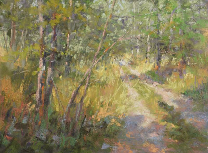 plein air soft pastel painting of a lane through the woods by Sharon Bamber