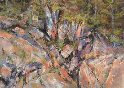 soft pastel painting of distant cougar on rocky cliffs by Sharon Bamber