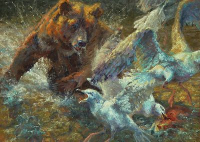 soft pastel painting of young grizzly chasing seagulls by Sharon Bamber