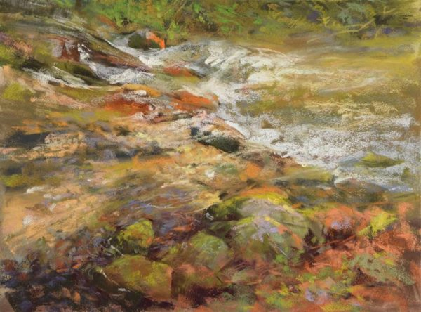 plein air soft pastel painting of a stream by Sharon Bamber
