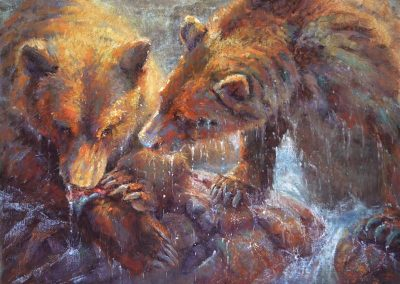 soft pastel painting of two young grizzlies by Sharon Bamber