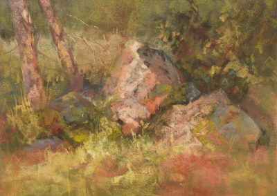 plein air soft pastel painting of rocks and trees by Sharon Bamber