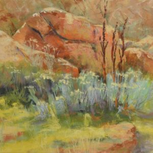 plein air soft pastel painting of granite boulder and sagebrush by Sharon Bamber