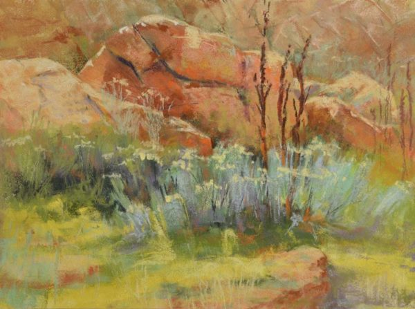 plein air soft pastel painting of granite boulder and sagebrush by Sharon Bamber