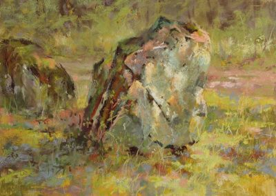 plein air soft pastel painting of mossy boulders by Sharon Bamber