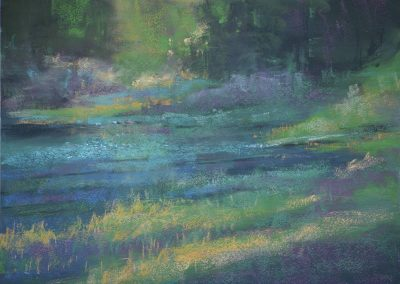 plein air soft pastel painting of a lake by Sharon Bamber