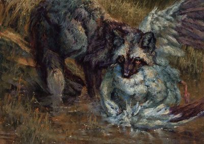 soft pastel painting of a silver fox and a goose by Sharon Bamber