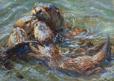 soft pastel painting of otter with pups by Sharon Bamber