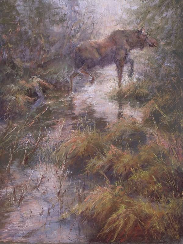 soft pastel painting of a moose in wetlands by Sharon Bamber