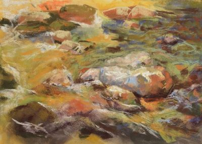 plein air soft pastel painting of stream and rocks by Sharon Bamber