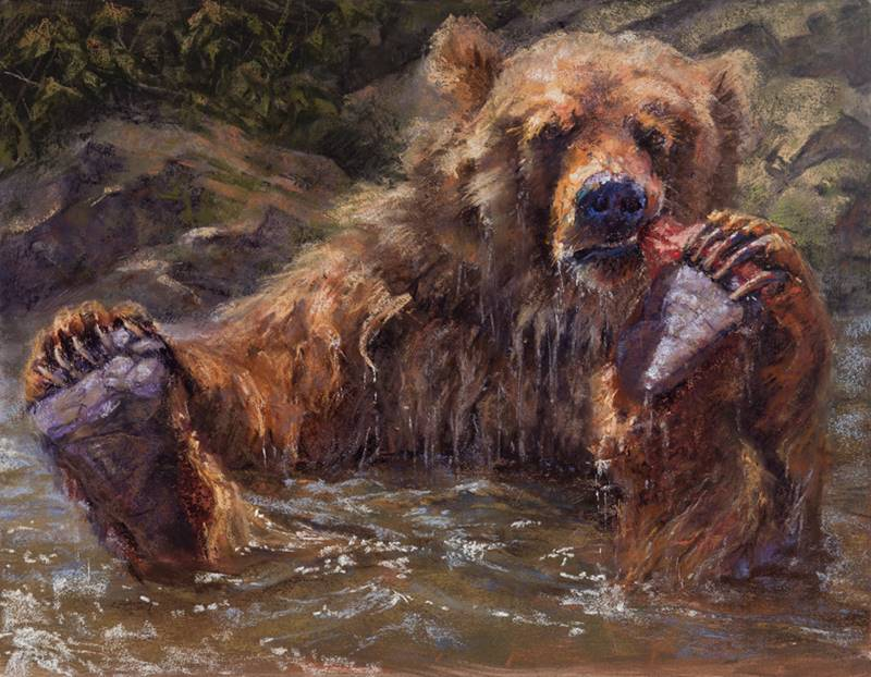 soft pastel painting of a young grizzly in water by Sharon Bamber
