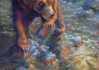 soft pastel painting of a young bear and a stream by Sharon Bamber