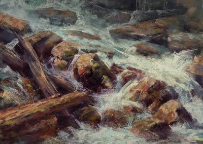 plein air soft pastel painting of mountain stream and rocks by Sharon Bamber