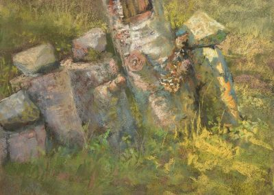plein air soft pastel painting of stones on birch stumps by Sharon Bamber