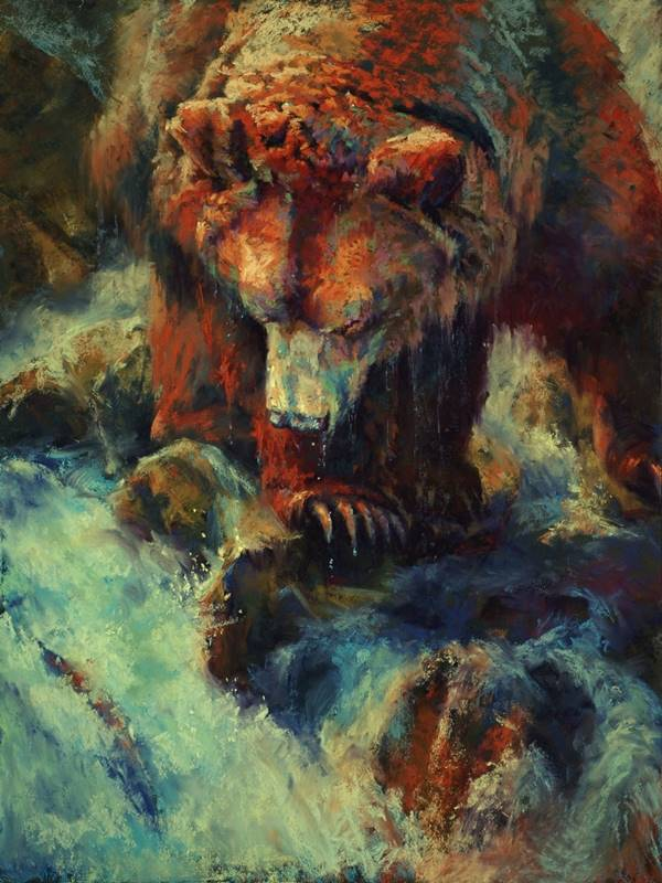 soft pastel painting of a grizzly and a waterfall by Sharon Bamber