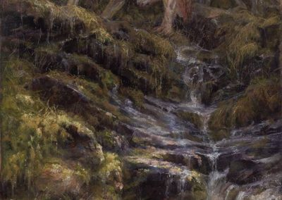 soft pastel painting of two wolves and a waterfall by Sharon Bamber
