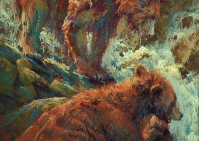 soft pastel painting of two young bears and a waterfall by Sharon Bamber