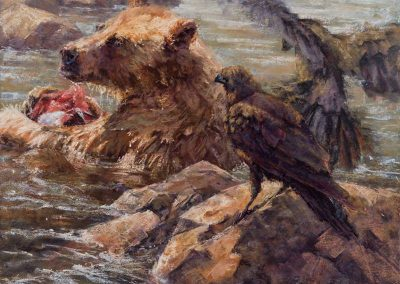 soft pastel painting of a young grizzly and ravens by Sharon Bamber