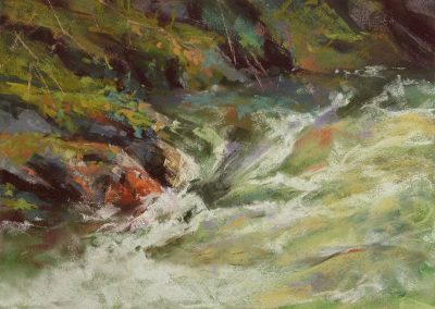 plein air soft pastel painting of a stream and mossy banks by Sharon Bamber