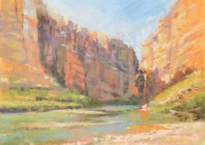 plein air soft pastel painting of canyon walls on the US-Mexico border by Sharon Bamber