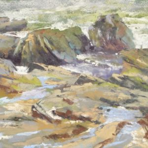 plein air soft pastel painting of coastal tide pools by Sharon Bamber
