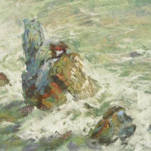 plein air soft pastel painting of a sea stack and seagull by Sharon Bamber