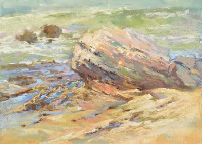 plein air soft pastel painting of a seashore rock by Sharon Bamber