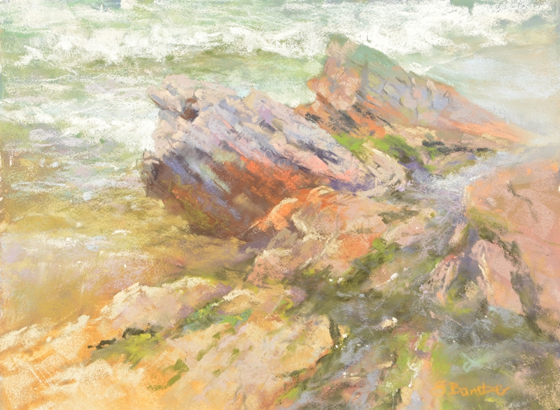 plein air soft pastel painting of rocks and tide pools by Sharon Bamber