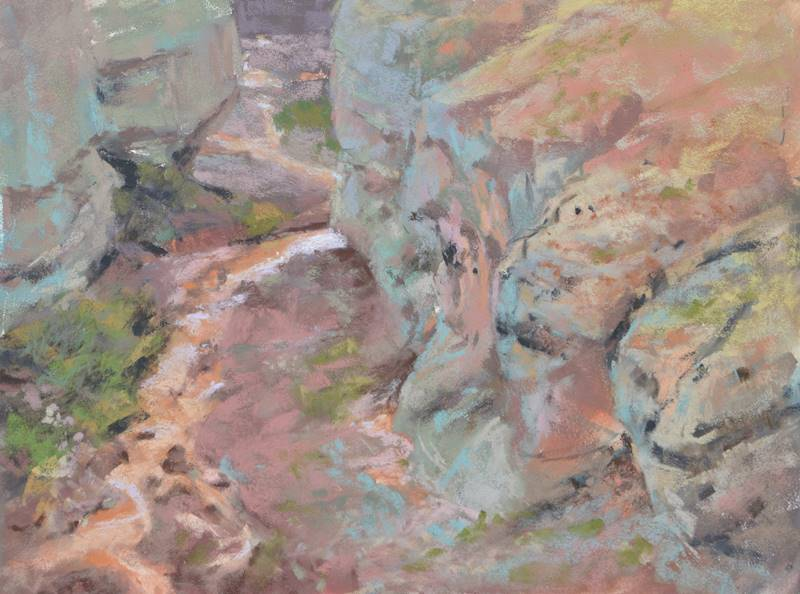 plein air pastel painting of Tuff Canyon in Big Bend National Park by Sharon Bamber