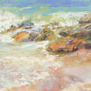 Incoming Tide, plein air soft pastel seascape by Sharon Bamber