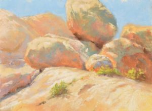 Jumbo Rocks, 9 x 12 plein air pastel painting by Sharon Bamber
