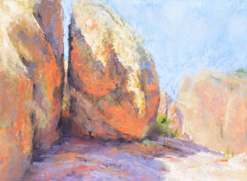 Split Rock, 9 x 12 plein air pastel painting by Sharon Bamber