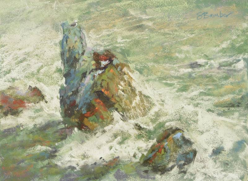 Plein air soft pastel painting of a sea stack by Sharon Bamber