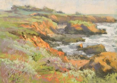 plein air soft pastel painting of coastal bluffs by Sharon Bamber