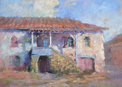 soft pastel painting by Sharon Bamber of a white stone buidling on the Camino