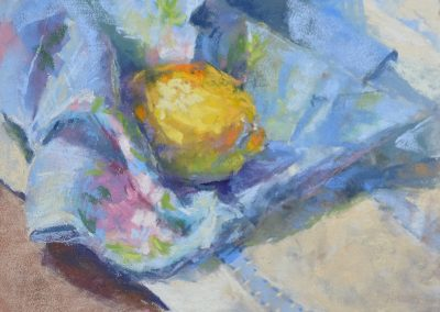 A Taste of France by Sharon Bamber soft pastel painting of a lemon