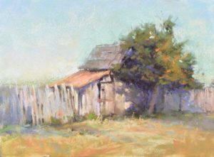 Beyond the Postcard by Sharon Bamber plein air soft pastel painting of old barn shed and tree