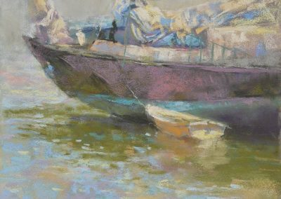 Companions by Sharon Bamber plein air soft pastel painting of boats
