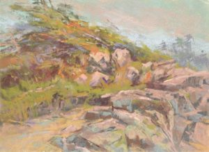 Conversing with the Elements by Sharon Bamber plein air soft pastel painting of coastal rocks