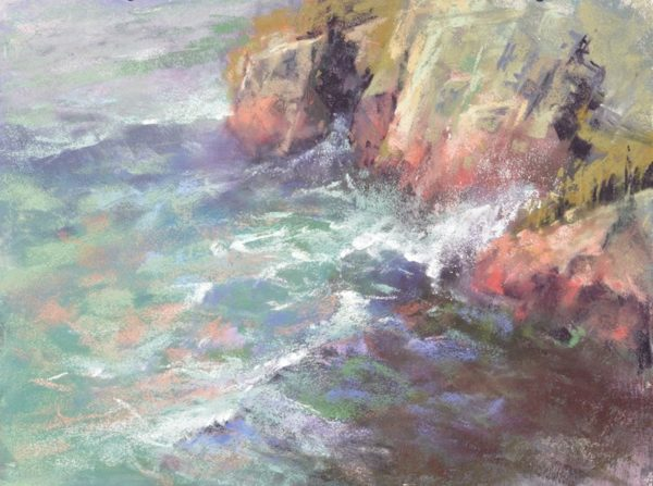 Hidden Depths by Sharon Bamber plein air soft pastel seascape painting of rocks and sea
