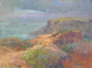 Hope on the Horizon by Sharon Bamber plein air soft pastel seascape painting of coastal cliffs and sea