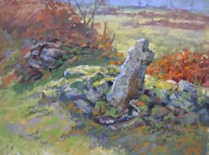 La Petite Croix by SHaron Bamber plein air pastel painting of old stone cross