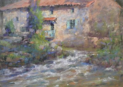 Le Moulin et la Gartempe by Sharon Bamber plein air soft pastel painting of old stone mill and river in France