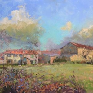 Le Petit Hameau Vaubourdolle by Sharon Bamber plein air pastel painting of old French village