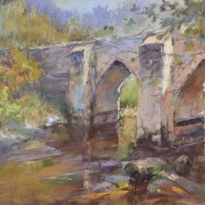 Le Pont Romain by Sharon Bamber plein air pastel painting of old stone roman bridge in France